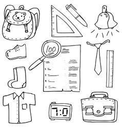 Element school in doodle ruler paper bag vector