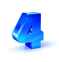 Glossy blue four 4 number 3d on vector