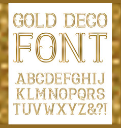 golden font in art deco style vintage latin vector image