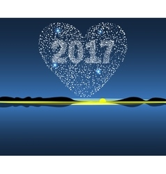 Happy new year 2017 starburst heart vector