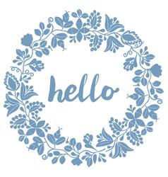 Hello pastel laurel wreath blue frame isolated vector