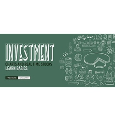 Investment chart concept with doodle design style vector
