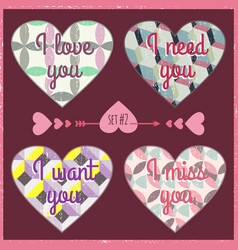 lettering valentines day in hearts 3 vector image vector image