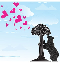 Love heart background with statue of Bear vector image vector image