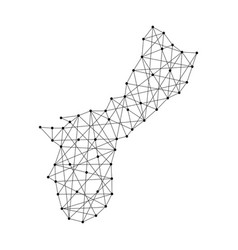 Map territory of guam from polygonal black lines vector
