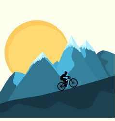 Mtb female rider on mountains sunset background vector