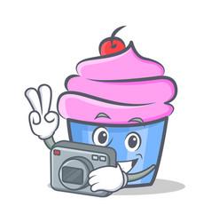 Photography cupcake character cartoon style vector