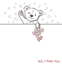 Romantic card with hand drawn cute bear vector image