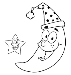 Royalty free rf clipart happy star and moon mascot vector