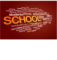 School Word Cloud Bubble Tag Tree on red vector image vector image