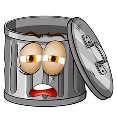 Trashcan with sad face vector