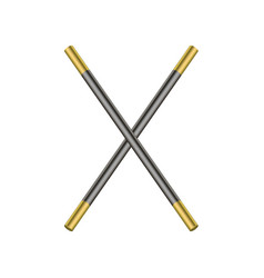 Two crossed magic wands in black and golden design vector