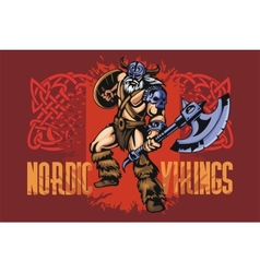 Viking warrior with big axe vector image vector image