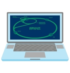 Laptop with Large Hadron Collider scheme on screen vector image