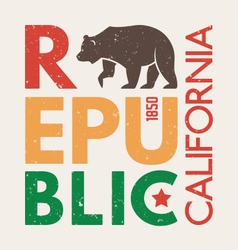 California republic t shirt with grizzly bear vector