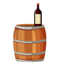 Wooden berrel and red wine vector