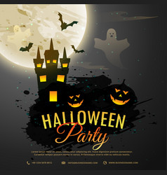 Halloween night background with creepy castle vector