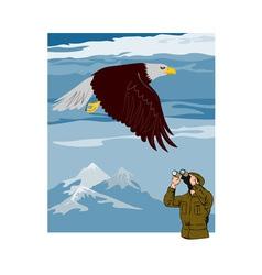 Man Watching Eagle vector image