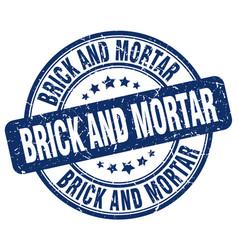 Brick and mortar blue grunge stamp vector