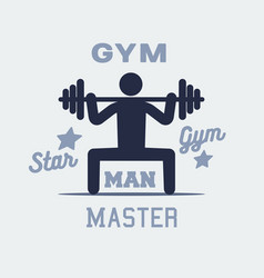 Weightlifter man icon persone sign logo vector
