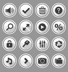 Web design round white buttons set 2 vector