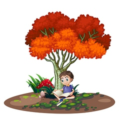 A boy reading under the tree vector