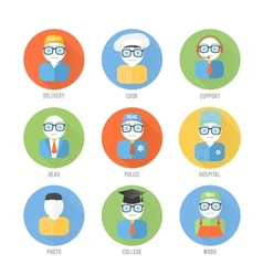 Set of faces icons of occupation in flat style vector