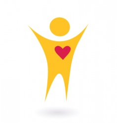 People and heart abtract icon vector