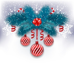 Christmas background with fir branches glass balls vector