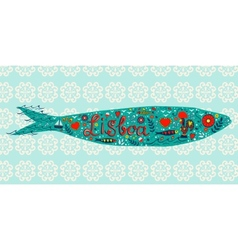 Traditional portuguese sardine with tipical icons vector