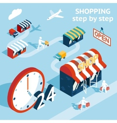 Cartooned shopping concept design vector