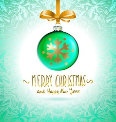 Christmas tree branch with green ball isolated vector