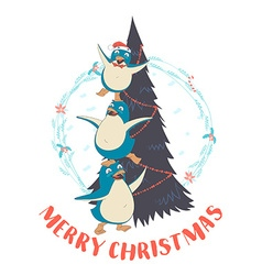 Festive funny merry christmas card with three vector
