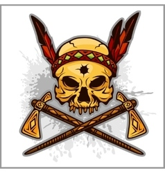 Skull of an indian warrior vector image