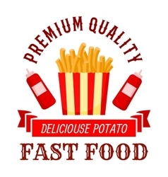 Fast food cafe symbol with takeaway french fries vector