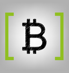 bitcoin sign black scribble icon in vector image