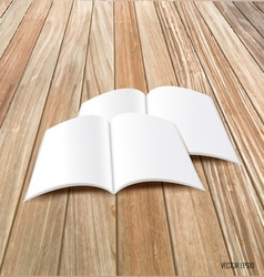 Blank catalog magazinesbook mock up on wood vector