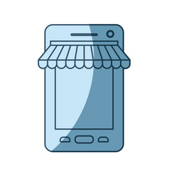 blue shading silhouette of smartphone online store vector image