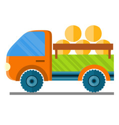 Car carrying hay in a trailer vector