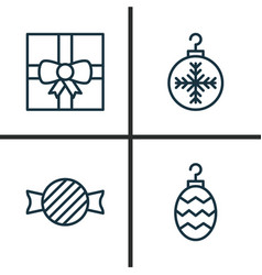 Christmas icons set collection of christmas toy vector