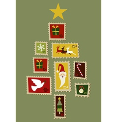 Christmas tree stamp vector image