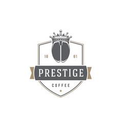 Coffee shop logo template bean silhouette vector