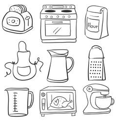 Collection equipment kitchen doodles vector