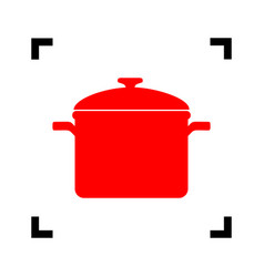 Cooking pan sign red icon inside black vector