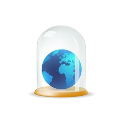 Earth covered with a glass cover vector