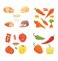 farming production vegetables icons set healthy vector image