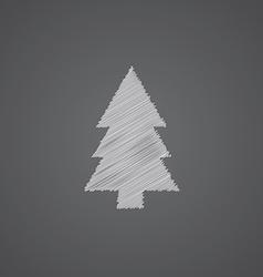 Fir-tree sketch logo doodle icon vector