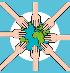 Hands around world symbol peace vector