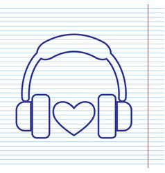 headphones with heart navy line icon on vector image