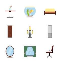 Home environment icons set flat style vector